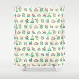 Choco Mint Rabbit Shower Curtain