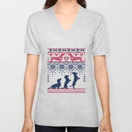 Fair Isle Knitting Doxie Love // navy blue background white and red dachshunds dogs bones paws and hearts Unisex V-Neck