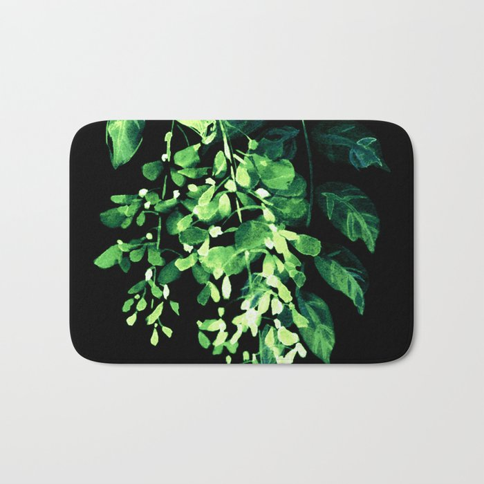 luminous wisteria on black background Bath Mat