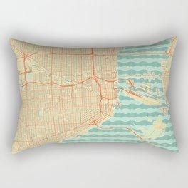 Miami Map Retro Rectangular Pillow