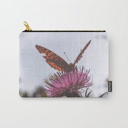Aphrodite Fritillary Butterfly on Thistle Photography Carry-All Pouch