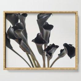 Dark Flowers, Light Background Serving Tray