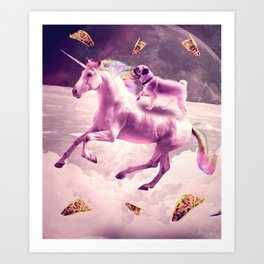 Space Pug Riding On Flying Unicorn With Taco Art Print
