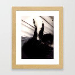Black and white Cat Paw Framed Art Print