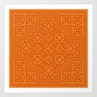 orange pattern Art Prints featuring Orange Pattern by White Wolf Wizard