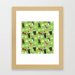 Santa hat coonhounds snowflakes green Framed Art Print