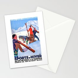 1930 Winter Sports In The French Alps Poster Stationery Cards