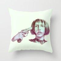 leon Throw Pillows featuring leon - mathilda  by Doruktan Turan