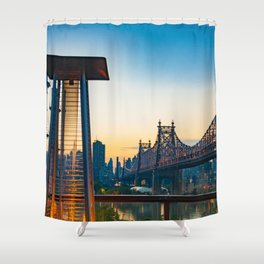 Fire Pit Against Backdrop of Queensboro Bridge in New York City (Sunset Photography) Art Print Shower Curtain