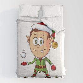 Little Elf Character Ready for a Snowball Fight Comforters