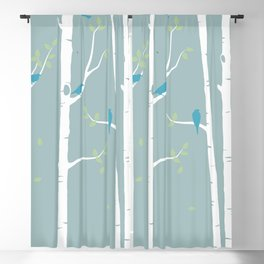 Birch Trees with Duck Egg Background Blackout Curtain