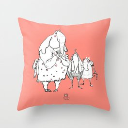 Anxious Elephants Throw Pillow
