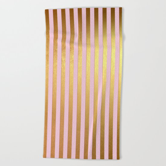 Striped- Pink and gold luxury stripes design Beach Towel