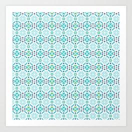 Floral Mosaic Turquoise Pattern Art Print