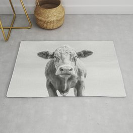 Animal Photography | Cow Portrait Minimalism | Farm animals | black and white Rug