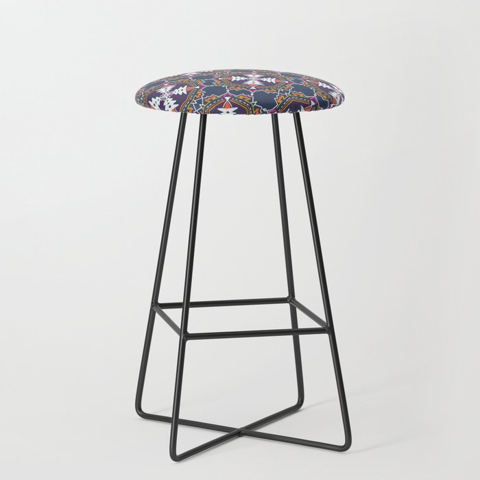 apache, tribal pattern in grey Bar Stool