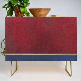 Deep Blue, Red And Gold Abstract Painting Credenza