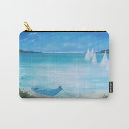 White sails & blue boat moored Carry-All Pouch