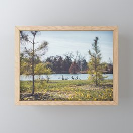 Migrate | Nature Landscape Photography of Birds in Fall Autumn Leaves Trees Framed Mini Art Print