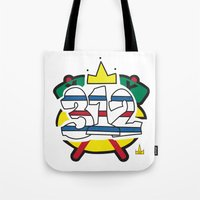 blackhawks Tote Bags featuring Chicago Pride Blackhawks by TyRex Creations