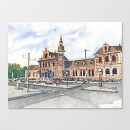 Delft Station in Watercolor Canvas Print