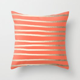 Simply Drawn Stripes in White Gold Sands on Deep Coral Throw Pillow