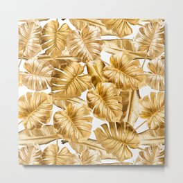Gold Leaves Aloha Tropical Foliage Pattern Metal Print
