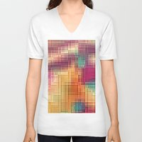 tetris V-neck T-shirts featuring Colored Tetris by jbjart