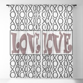 Pantone Red Pear LOVE XOs (Hugs and Kisses) Typography Art Sheer Curtain