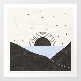 Between Two Mountains Art Print