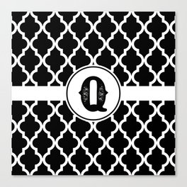 Black Monogram: Letter Q Canvas Print
