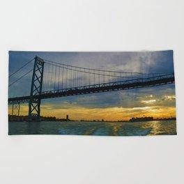 The Ambassador Bridge connects Detroit USA, & Windsor CA Beach Towel