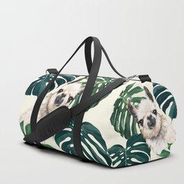 Sneaky Llama with Monstera Duffle Bag