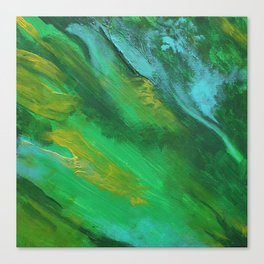 Square Green Abstract Acrylic Painting Canvas Print