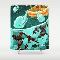 assassins creed Shower Curtains featuring Dolphin Assassins by Samuel Washburn