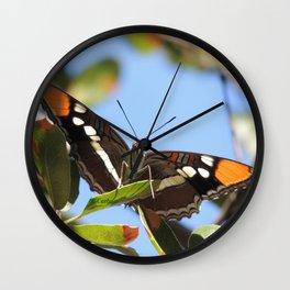 California Sister Butterfly on Oak Leaves Wall Clock