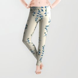 Portuguese tile style ornamental pattern - blue on cream Leggings