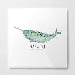 Cute Narwhal Metal Print