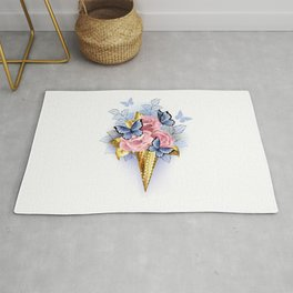 Waffle Cone with Pink Roses Rug