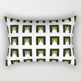 Phillip Gallant Media Design - Black, Green, And Pink Design On White Rectangular Pillow