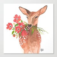 oana befort Canvas Prints featuring Lovely Deer by Oana Befort