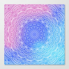 Beautiful colorful rainbow mandala Sophisticated ornament pink and violet cyan Canvas Print