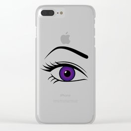 Violet Right Eye Clear iPhone Case