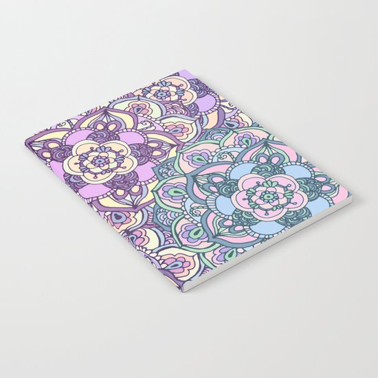 Aqua, Pink and Purple Doodled Pattern Notebook