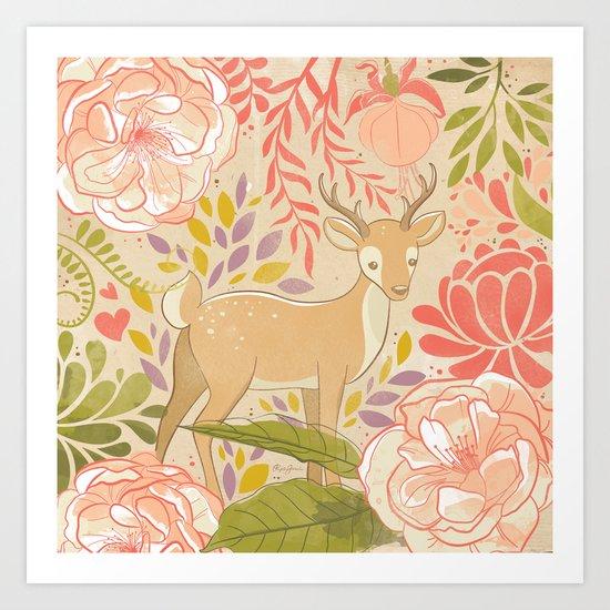 Garden Deer Art Print