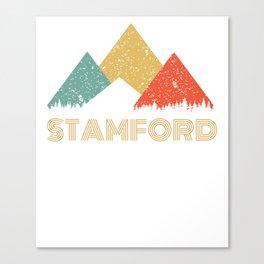 Retro City of Stamford Mountain Shirt Canvas Print