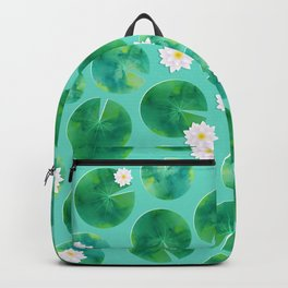 Lily Pads & White Water Lily Flowers Backpack