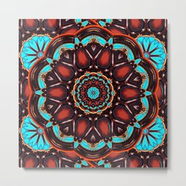 Abstract - Wood & Turquoise Pattern Metal Print