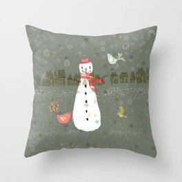 Cute Christmas Snowman & Birds Winter Scene Throw Pillow