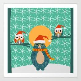 Christmas bear and two little owls Art Print